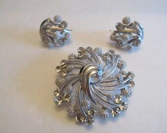 Vintage TRIFARI Rhinestone Brooch and Clip Earrings Set