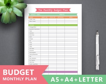 "Monthly Budget printable: ""BUDGET PLANNER"" Letter A4 A5 Budget Planner Book, Financial Planner, Binder, Expense Tracker, Finance Organizer"