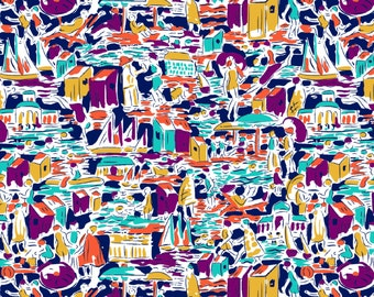 """Mary Fons Small Wonders Brazil Cityscape by Springs Creative  100% cotton Fabric by the yard 36""""x43""""  (N481)"""