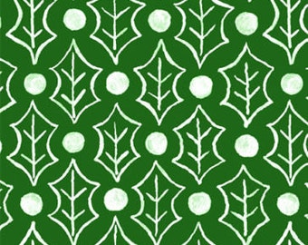 "Christmas Fabric / Susybee Fabric : Holly berries and Holly Leaves Green Fabric 100% Cotton Fabric By The Yard 36""x42"" (A53)"