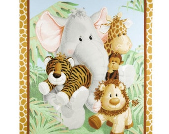 """Bazooples Fabric: Bazooples Jungle Babies Nursery Quilt Top Panel with Jungle Animals 100% cotton Fabric by the Panel 35""""x44"""" (SC108)"""