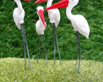 5 Tiny White Painted Stork Birds Picks Miniature Dollhouse Fairy Garden /Set