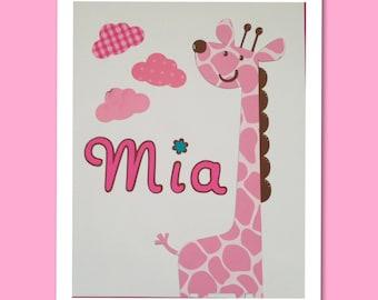 Nursery wall art, Pink giraffe nursery name sign, nursery decor, baby shower , safari animals, Mia
