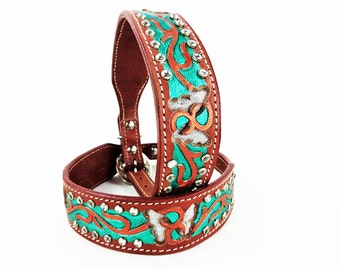 Handmade Leather Western Style Custom Green Metallic Silver Butterfly Dog Collar