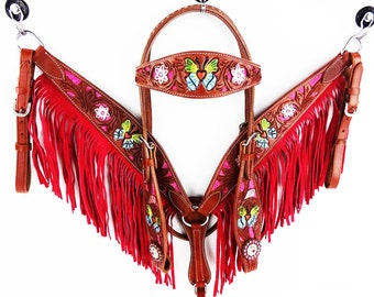 Handmade Pink Butterfly Painted Fringe Leather Headstall Western Horse Bridle Breast Collar Tack