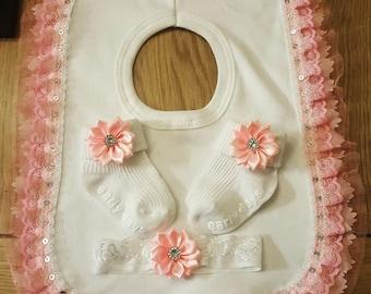 Handmade Baby Bib, Socks and Headband Set