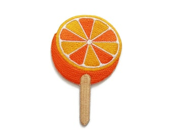 Orange Ice Cream Sweet Embroidered Applique Iron on Patch 5 cm. x 7.6 cm.