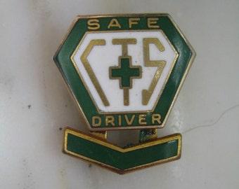 Vintage CTS Safe Driver Enameled Lapel Pin or Tie Tac