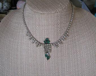 Vintage Astra White & Green Rhinestone Choker Necklace