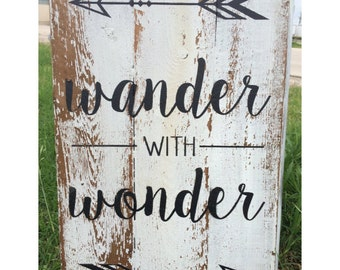Rustic Home Decor // Arrows, Distressed, Handmade // Wander with Wonder, Great for Kids Room, Guest Room, or Gift!