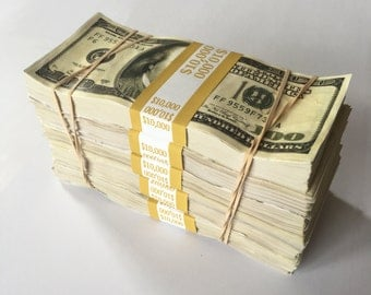 Prop Money 50,000 Dollar Stack Distressed for Music Videos, Instagram, Advertising