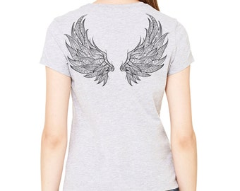 Angel wings printed on the back of a heather gray t-shirt, women's t-shirt, gray tee, print on back, wings, angel wings