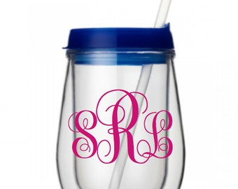 Monogrammed Personalized Custom Bev2Go Stemless Wine Tumbler With Straw