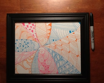 Light blue, pink and orange Zentangle inspired art
