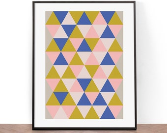Scandinavian Art Print, Printable Wall Art, Wall Art, Digital Download, Screenprint, Triangle art print, Geometric, Mid Century Modern