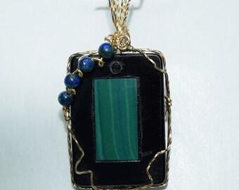 Wire Wrapped Black Onyx and Malachite Intarsia Pendant -- G1015