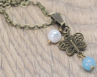 Blue jade necklace - Victorian butterfly necklace - Victorian freshwater pearl necklace - Victorian jade necklace - Wire wrapped pearl