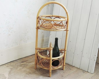 French Vintage Rattan Bar/Mid Century Small Rattan Bar/Rattan and Bamboo/Vintage Portable Bar