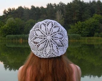 Summer hat Cotton crochet beret white gift for women boho gifts for women hat knitted beach hat women's hat summer accessories