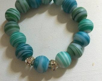 Green agate beaded stretch bracelet