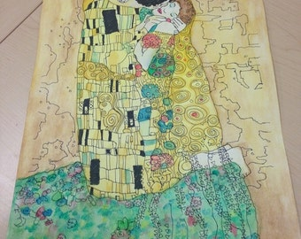 "Gustav Klimt's ""The Kiss"", watercolor edition"