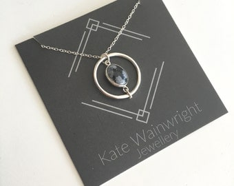 Snowflake Obsidian and Silver Orbit Pendant