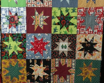 Vintage Wonky Star Quilt, lap quilt, throw quilt