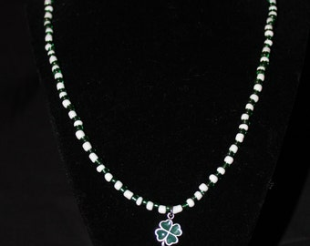Green and White Clover necklace