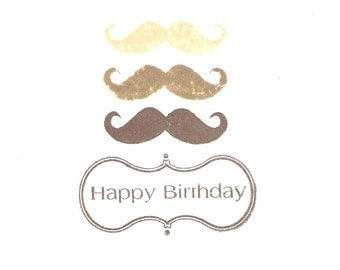 Moustaches Handmade Greetings Card