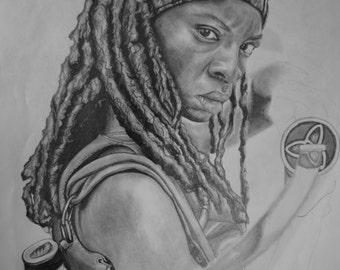 The walking dead Michonne portrait drawing
