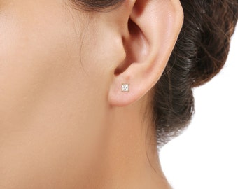 Rose Gold Plated Earring Sensitive Ear Studs with White Zircons in Sterling Silver - Needs Jewellery