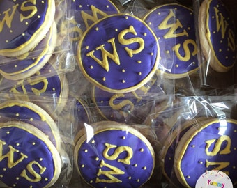 Monogram Cookies (You Choose Colors & Letters) - 1 Dozen (12 Cookies)