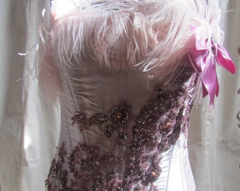 Pink Corset with feathers and dark pink embrodery