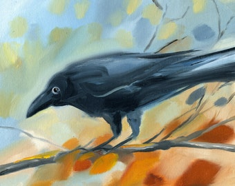 RAVEN with Message Under Wing,  Original Oil Painting