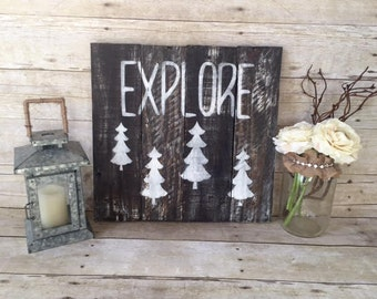 Explore Reclaimed Pallet Wood Sign | Weathered Decor| Rustic Decor | Nursery Decor | Home Decor