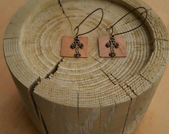 Copper and Gold Square Earrings