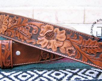 Belt leather hand - chiseled Hand tooled leather belt