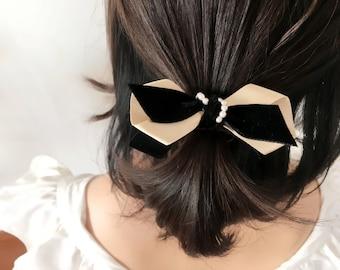 Velvet Ribbon Satin Pearl Ponytail holder Hair tie, Made in Japan *H104