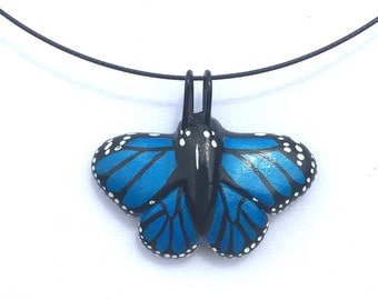 Blue Monarch Butterfly Necklace