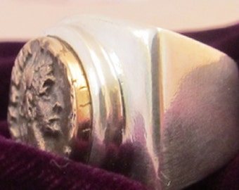 Sterling Silver custom made Ancient Vintage Men's Ring 27.10!Grams