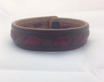 Handmade Genuine Leather Bracelet, Hand Stitched, Buckstitch