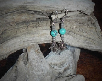 Hand of Hamsa and Turquoise Colored Earrings