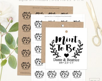 Mint To Be Wedding Tags | DIGITAL DIY PRINTABLE | Personalized Wedding Favor Tags | Rustic Laurels