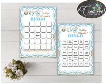 Baby Shower BINGO 60 cards game and empty gift BINGO cards with blue clothesline and blue color theme printable, instant download - bc001