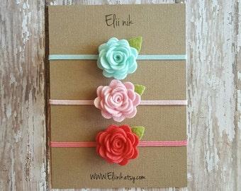 Felt headband,flower headband set,felt Flower headband,baby flower headband,felt headband set,rose headband,pink rose headband