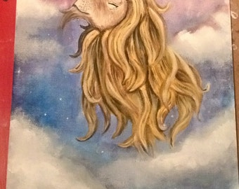 Lion of Light, gouache painting