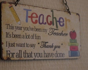 Teacher Plaque Sign Teachers Pet Gift Thank You To my Teacher Gift  Teachers Birthday Gift Sign  SG1853