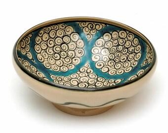 Handmade Clay Porcelain Soup Bowl 14th Century Antique Reproduction
