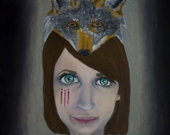 11x14 Oil Painting - Girl and Fox