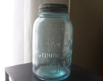 Blue/Aqua Atlas Strong Shoulder Quart Mason Jar With Zinc Lid